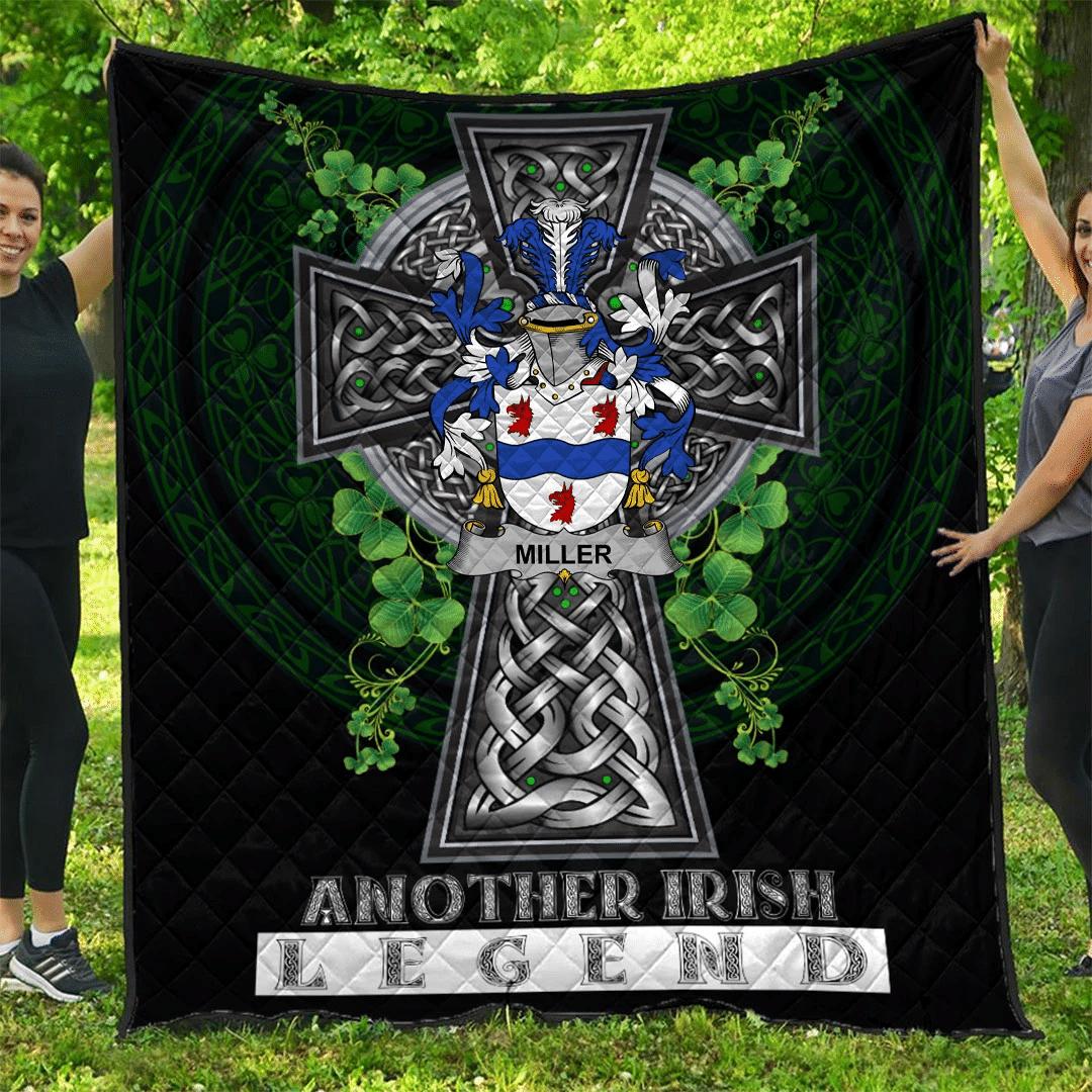 1sttheworld Premium Quilt - Miller Irish Family Crest Quilt - Irish Legend A7
