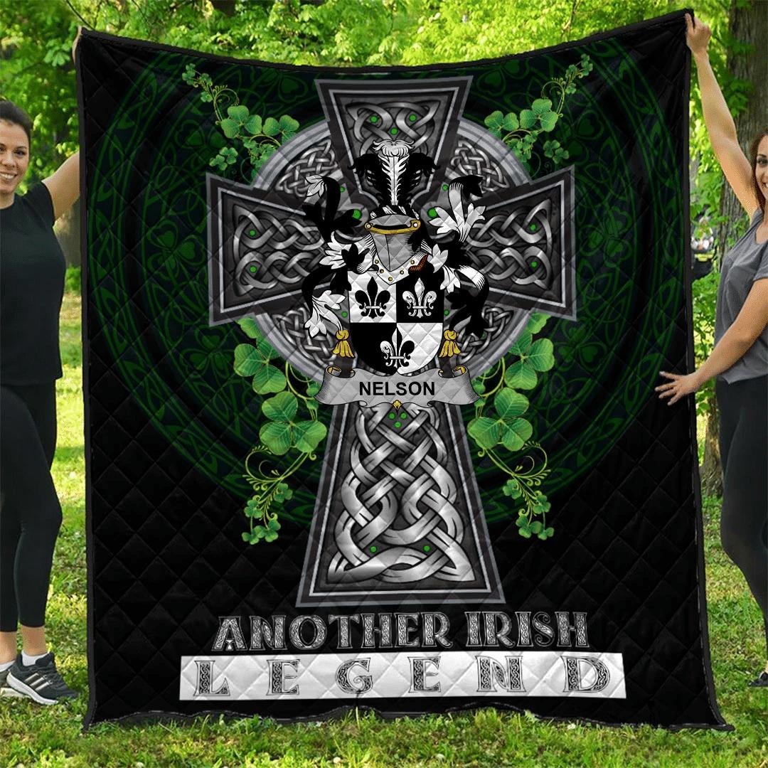 1sttheworld Premium Quilt - Nelson or Nealson Irish Family Crest Quilt - Irish Legend A7