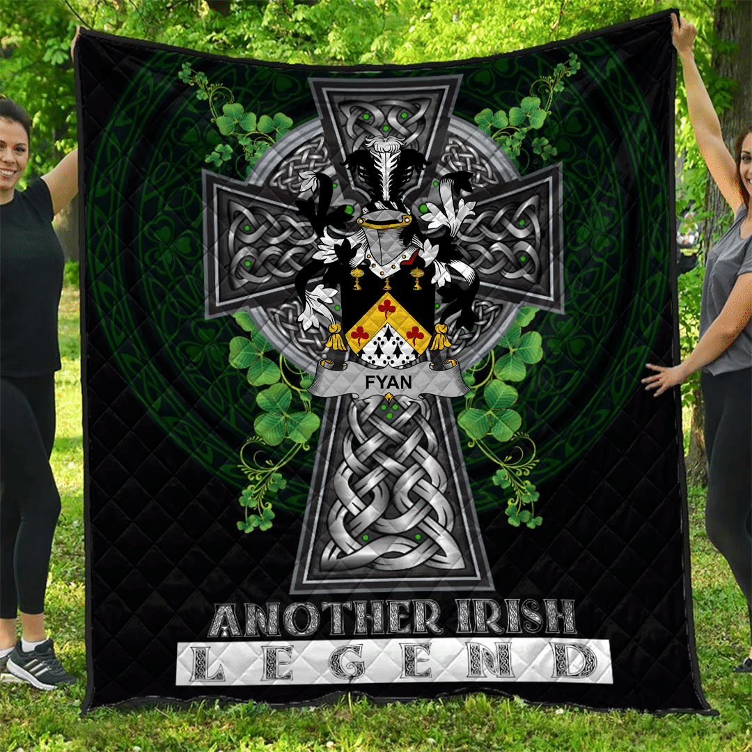1sttheworld Premium Quilt - Fyan or Faghan Irish Family Crest Quilt - Irish Legend A7
