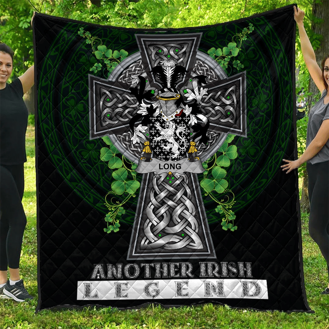 1sttheworld Premium Quilt - Long or Longe Irish Family Crest Quilt - Irish Legend A7