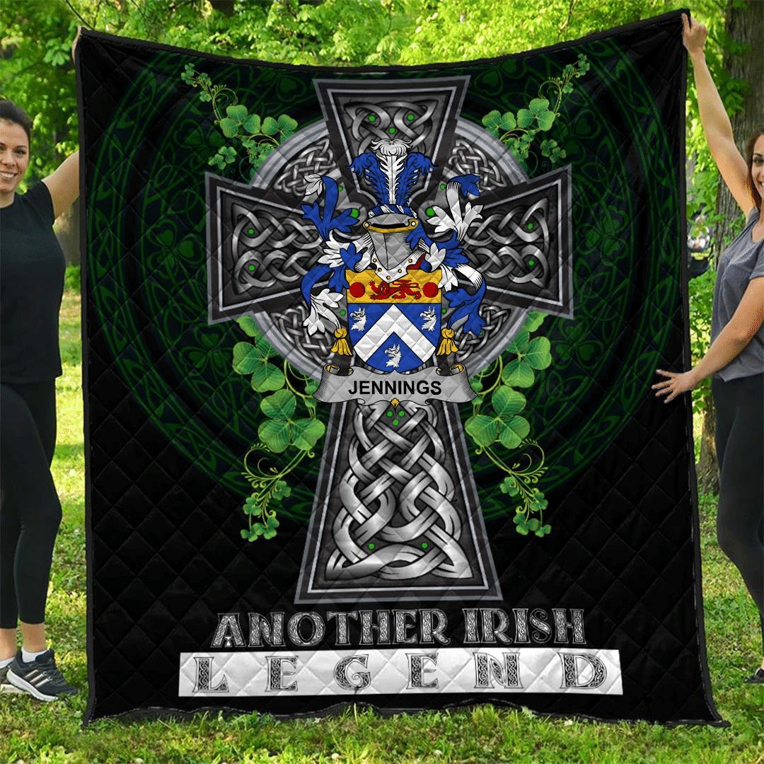 1sttheworld Premium Quilt - Jennings or Jennyns Irish Family Crest Quilt - Irish Legend A7