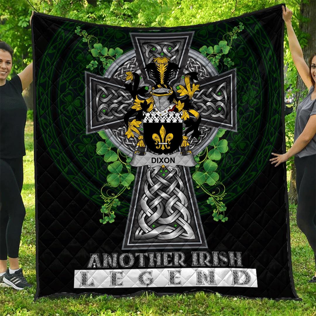 1sttheworld Premium Quilt - Dixon Irish Family Crest Quilt - Irish Legend A7