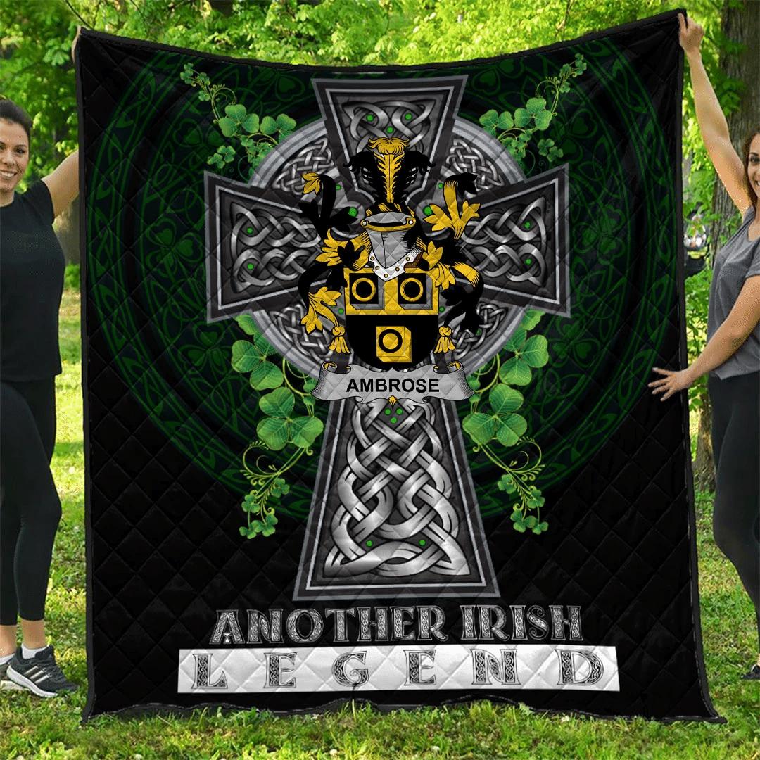 1sttheworld Premium Quilt - Ambrose Irish Family Crest Quilt - Irish Legend A7