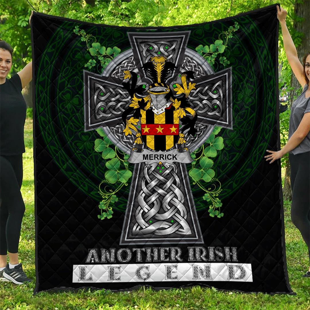 1sttheworld Premium Quilt - Merrick or Meyrick Irish Family Crest Quilt - Irish Legend A7