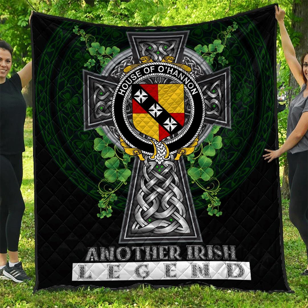 1sttheworld Premium Quilt - House of O'HANNON Irish Family Crest Quilt - Irish Legend A7