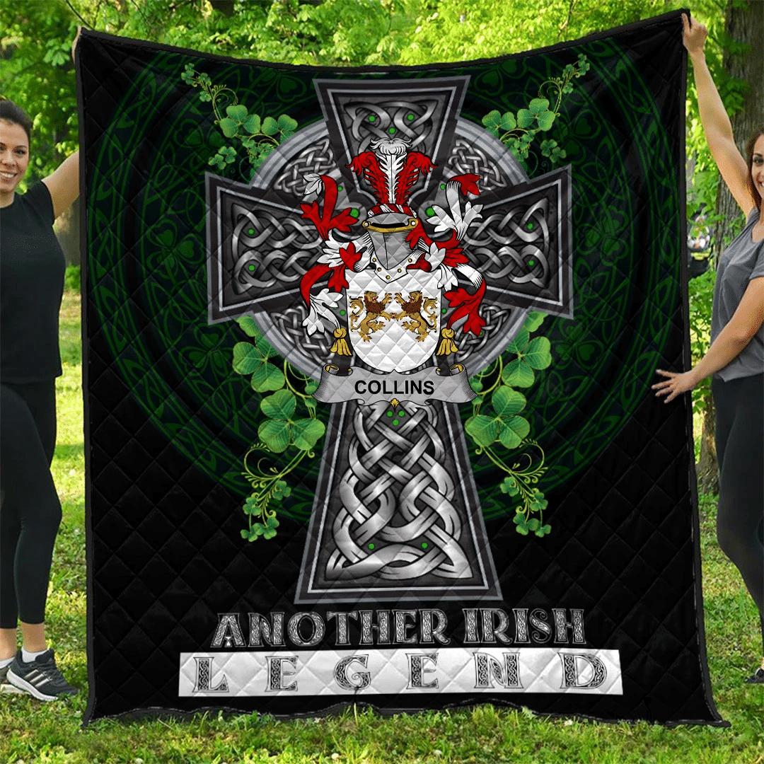 1sttheworld Premium Quilt - Collins Irish Family Crest Quilt - Irish Legend A7