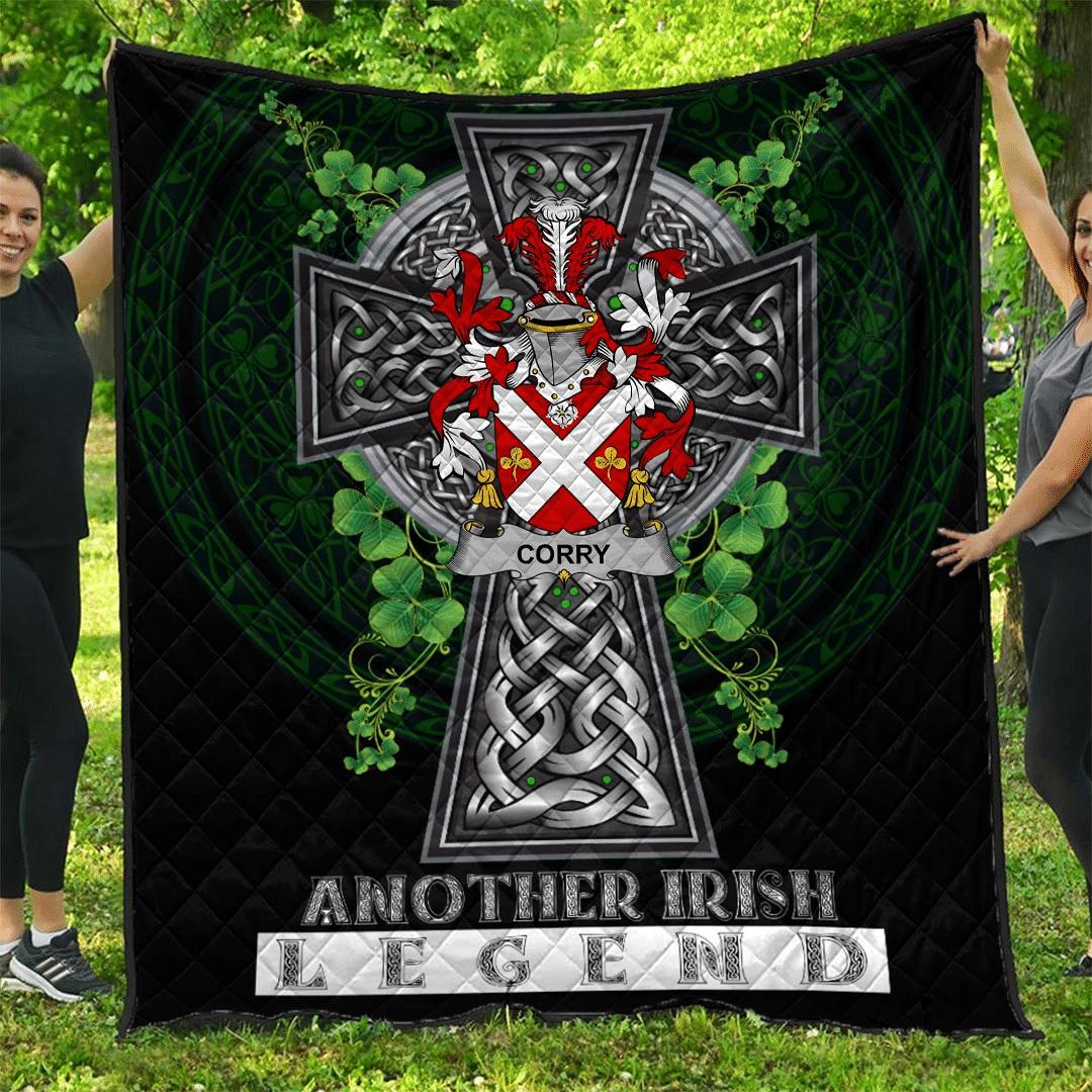 1sttheworld Premium Quilt - Corry or O'Corry Irish Family Crest Quilt - Irish Legend A7
