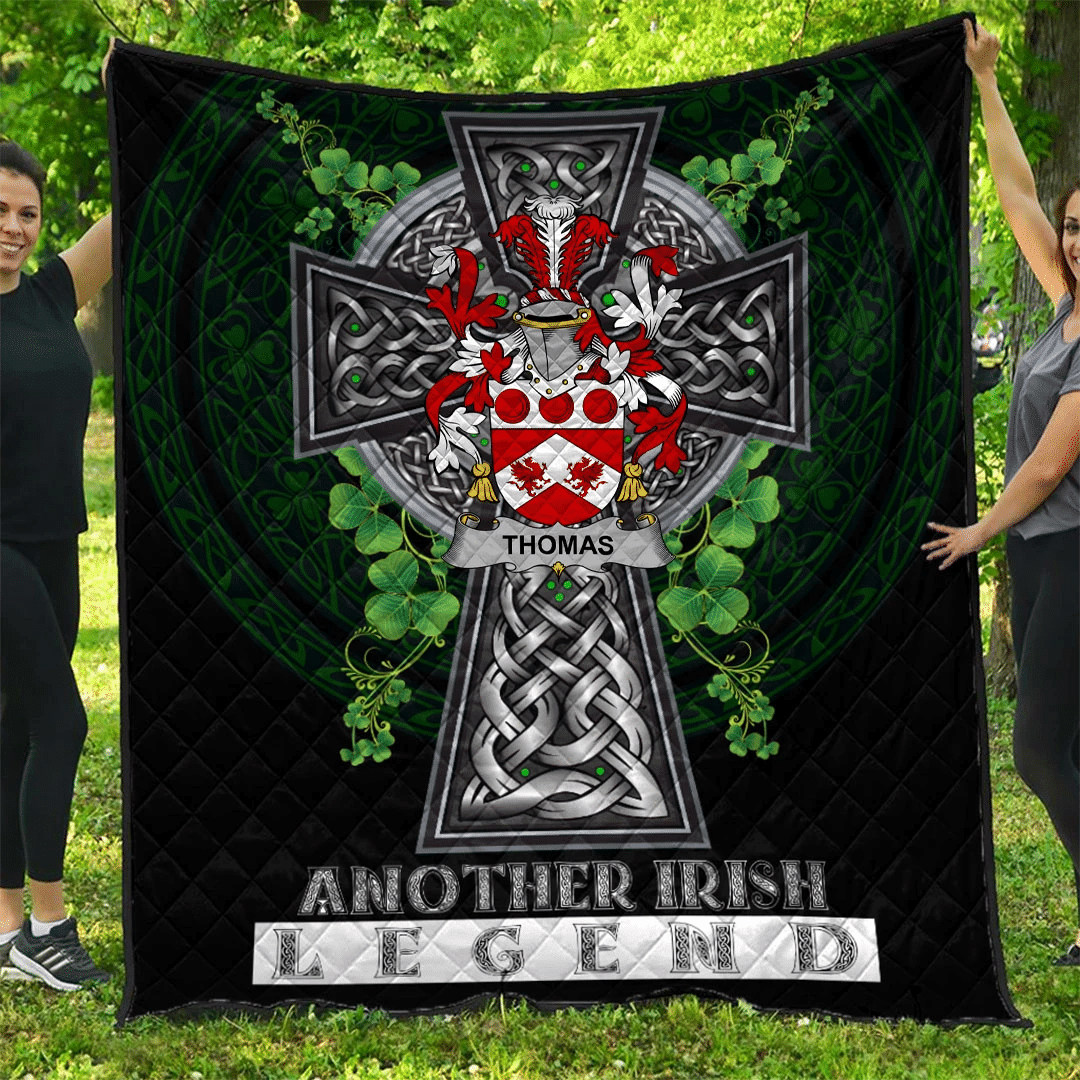 1sttheworld Premium Quilt - Thomas Irish Family Crest Quilt - Irish Legend A7