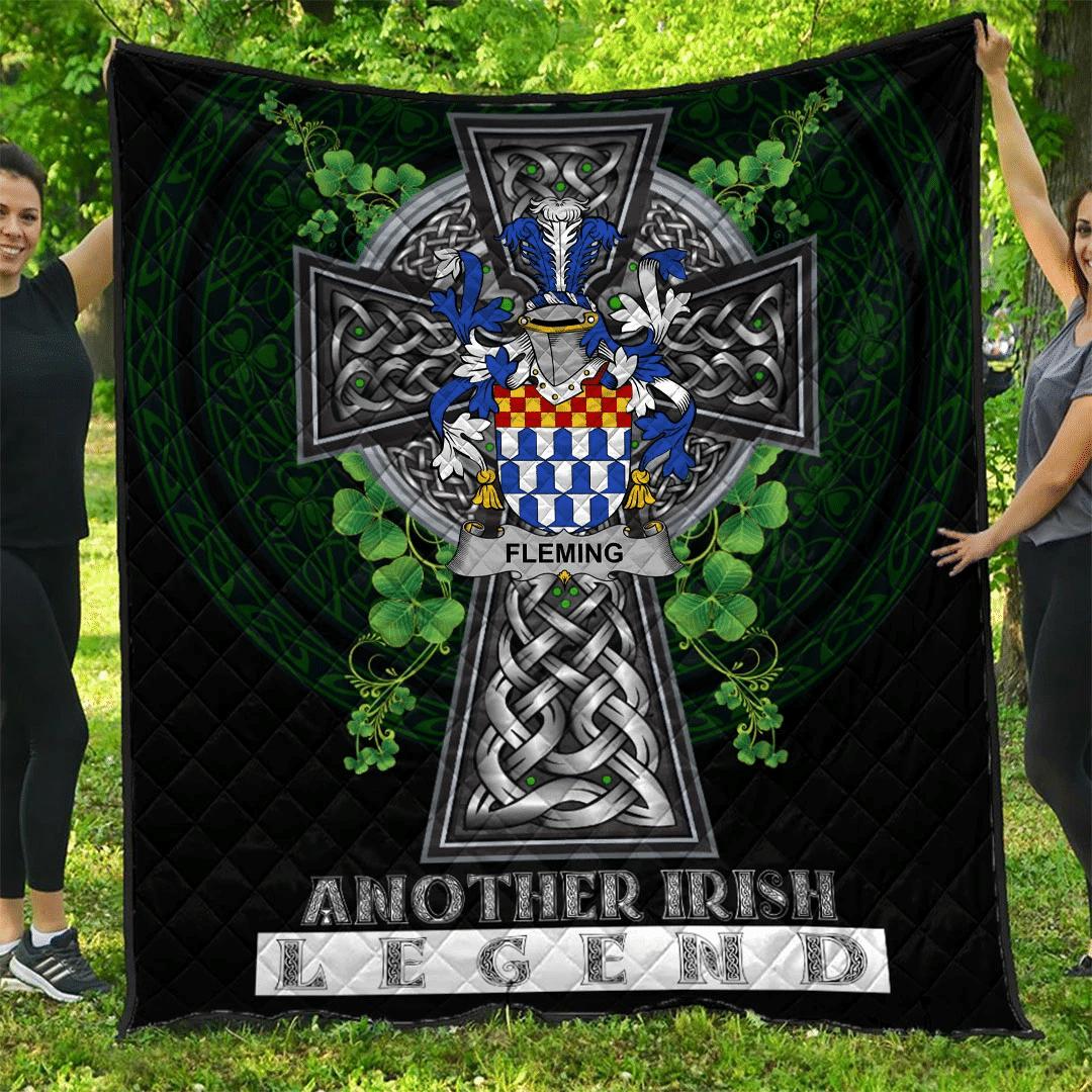 1sttheworld Premium Quilt - Fleming Irish Family Crest Quilt - Irish Legend A7