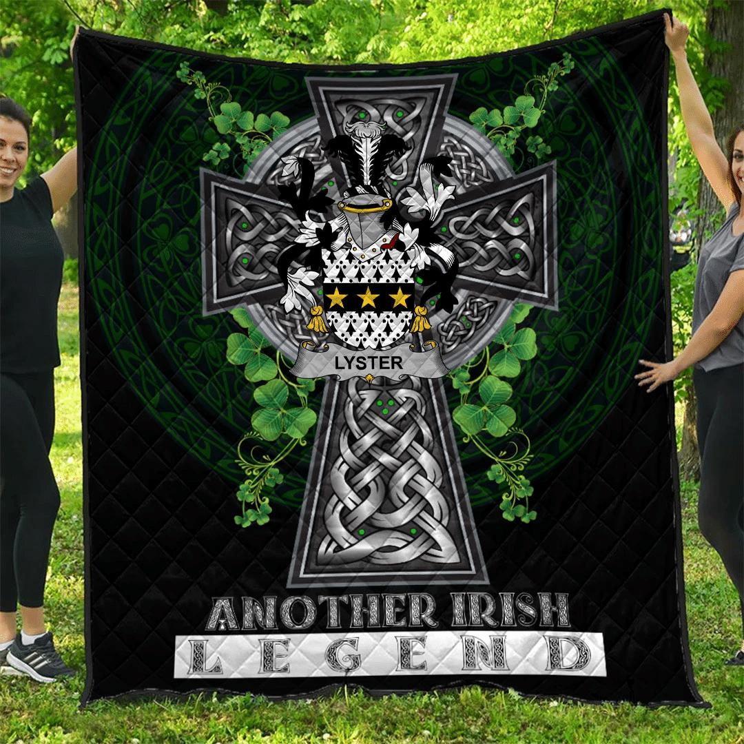 1sttheworld Premium Quilt - Lyster Irish Family Crest Quilt - Irish Legend A7