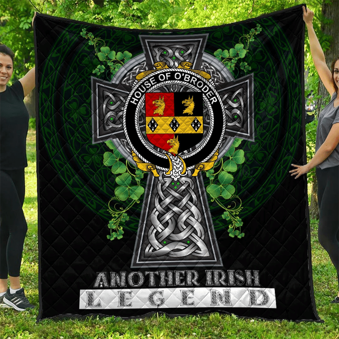 1sttheworld Premium Quilt - House of O'BRODER Irish Family Crest Quilt - Irish Legend A7