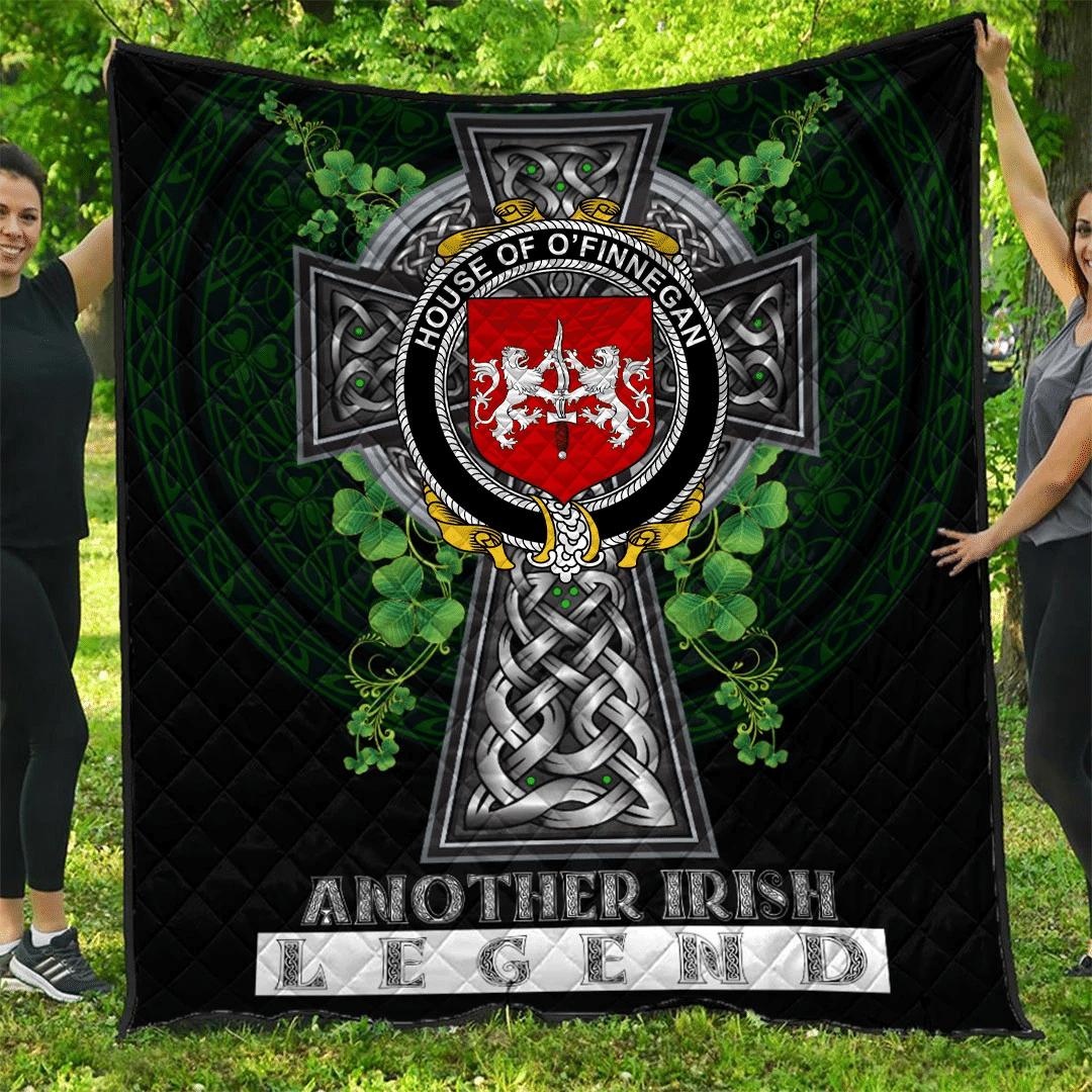 1sttheworld Premium Quilt - House of O'FINNEGAN Irish Family Crest Quilt - Irish Legend A7
