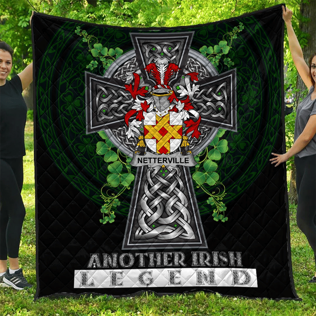 1sttheworld Premium Quilt - Netterville or Netterfield Irish Family Crest Quilt - Irish Legend A7