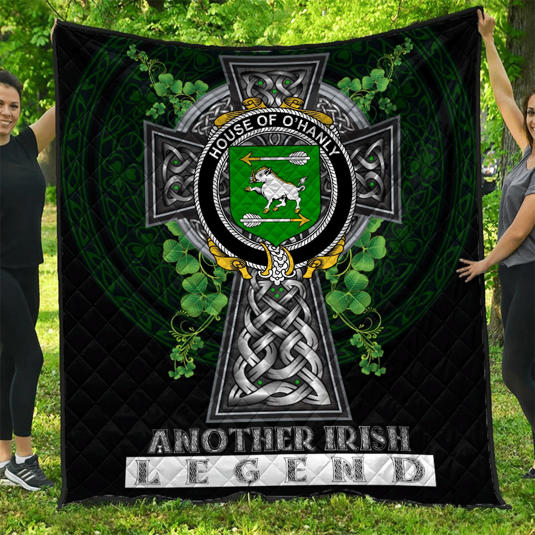 1sttheworld Premium Quilt - House of O'HANLY Irish Family Crest Quilt - Irish Legend A7