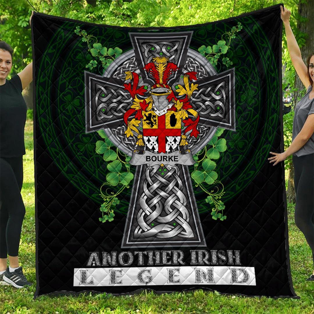 1sttheworld Premium Quilt - Bourke Irish Family Crest Quilt - Irish Legend A7
