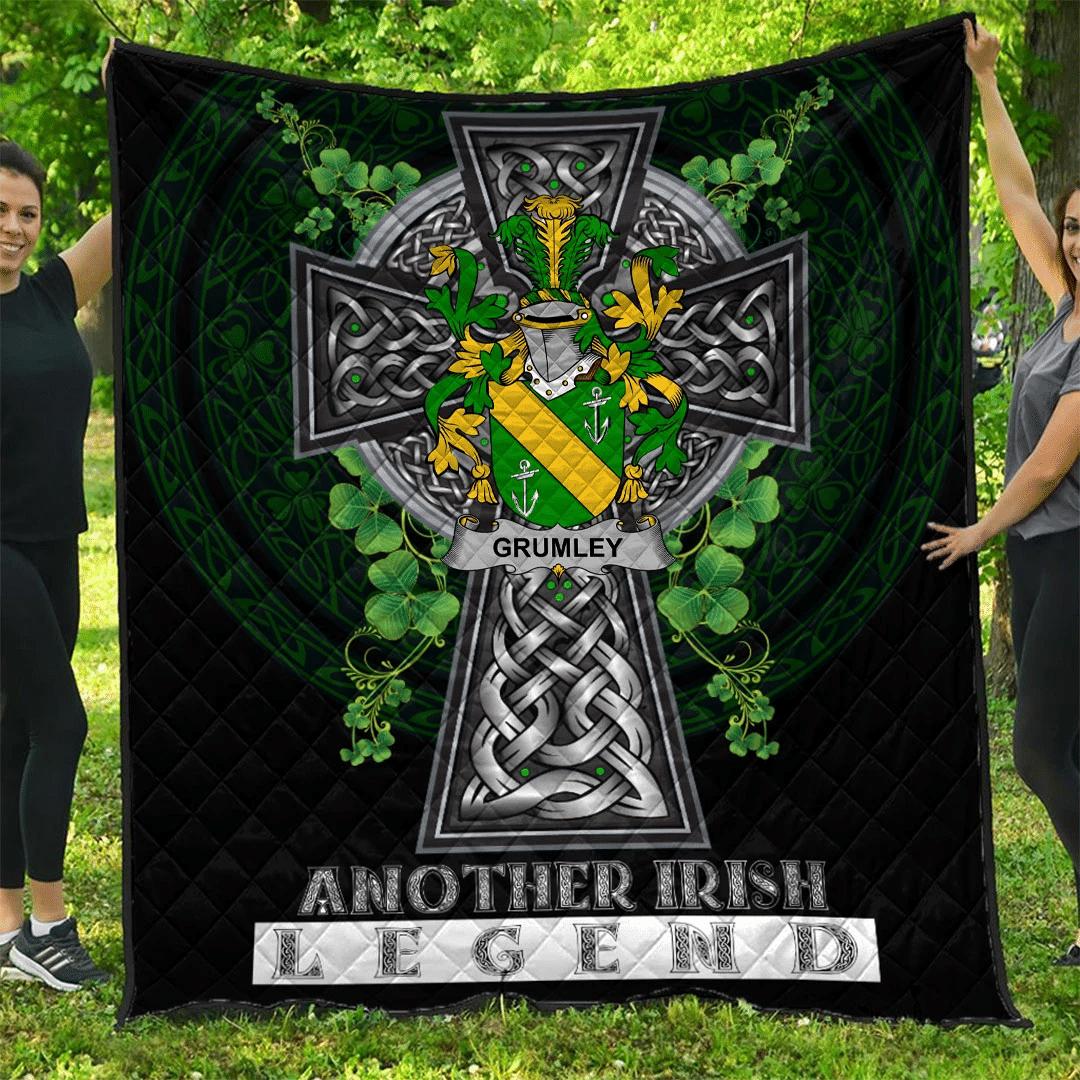 1sttheworld Premium Quilt - Grumley Irish Family Crest Quilt - Irish Legend A7