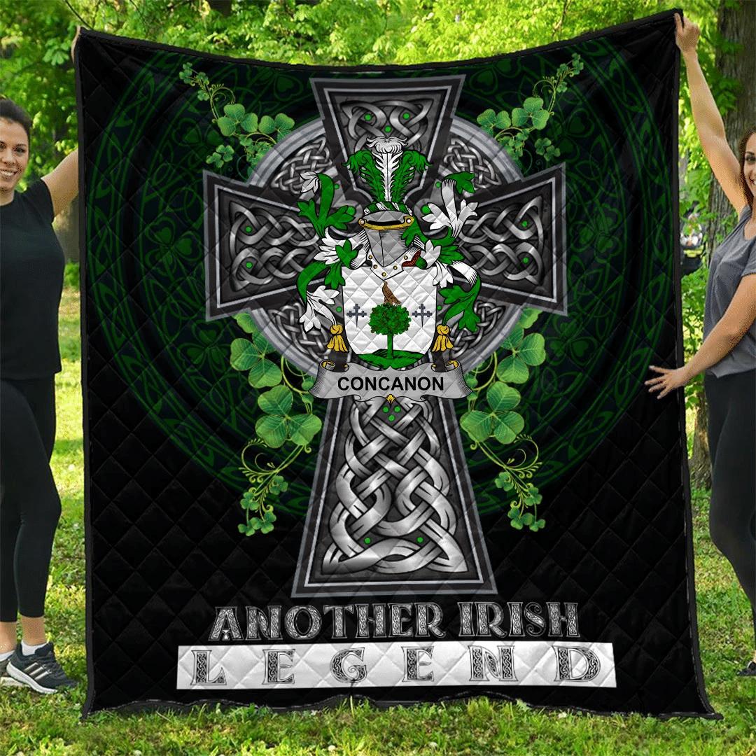 1sttheworld Premium Quilt - Concanon or O'Concanon Irish Family Crest Quilt - Irish Legend A7