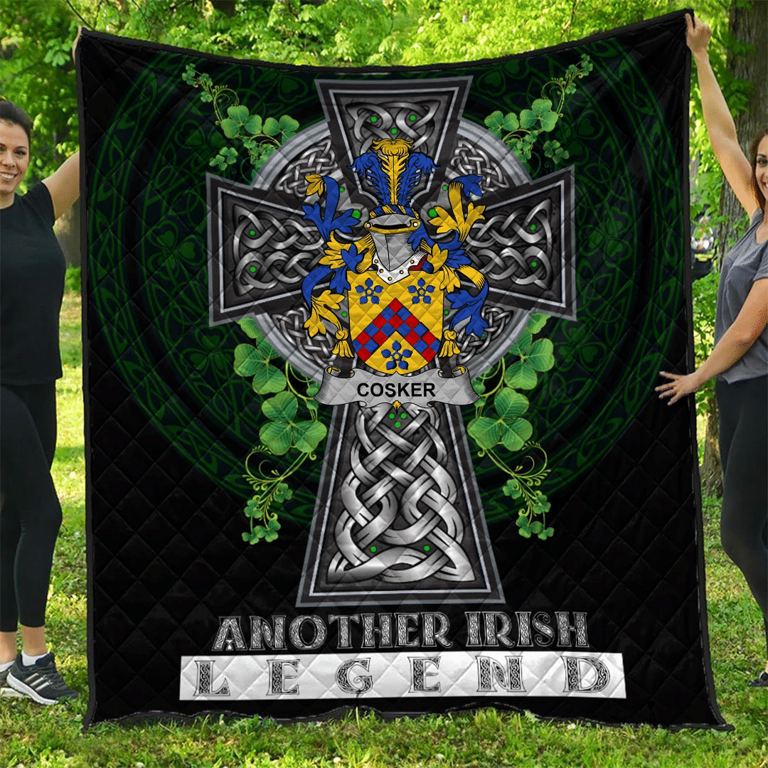 1sttheworld Premium Quilt - Cosker or McCosker Irish Family Crest Quilt - Irish Legend A7