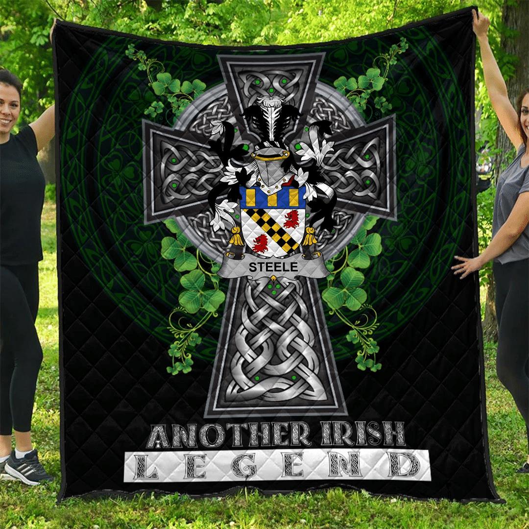 1sttheworld Premium Quilt - Steele Irish Family Crest Quilt - Irish Legend A7
