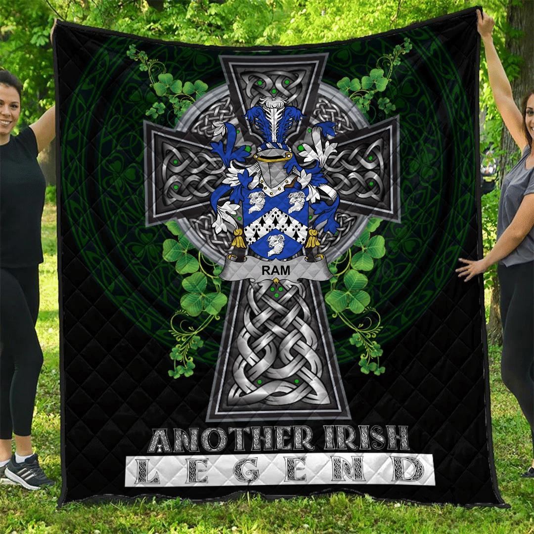 1sttheworld Premium Quilt - Ram Irish Family Crest Quilt - Irish Legend A7