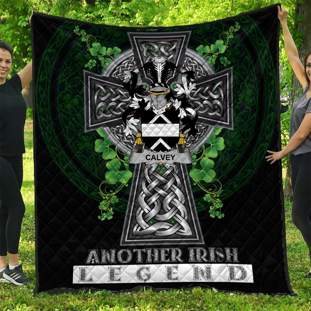 1sttheworld Premium Quilt - Calvey or McElwee Irish Family Crest Quilt - Irish Legend A7