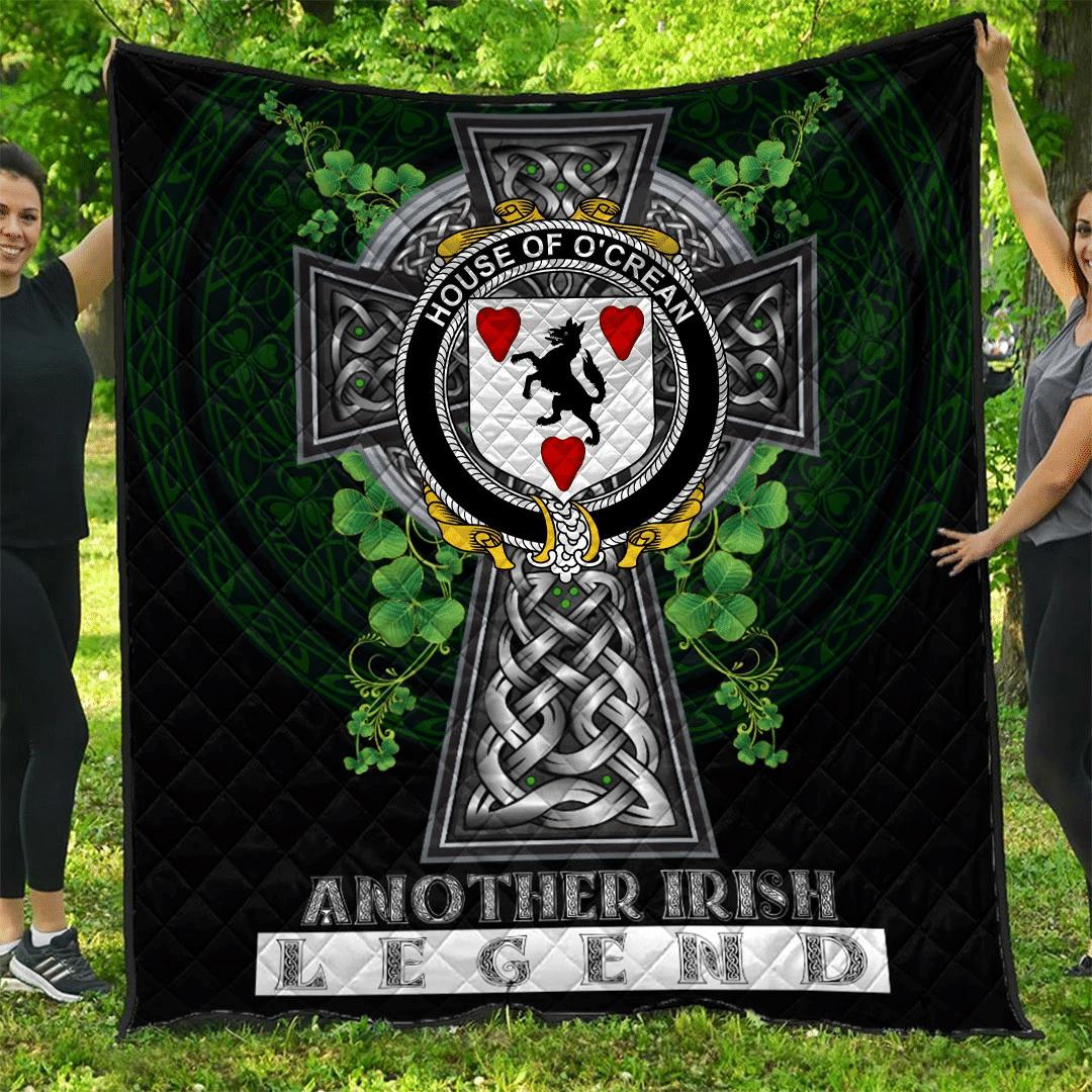 1sttheworld Premium Quilt - House of O'CREAN Irish Family Crest Quilt - Irish Legend A7
