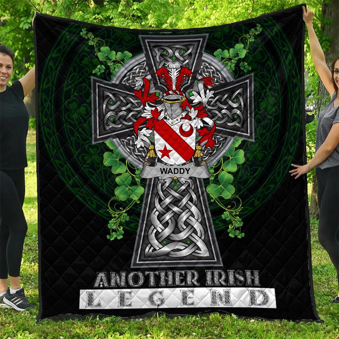1sttheworld Premium Quilt - Waddy Irish Family Crest Quilt - Irish Legend A7