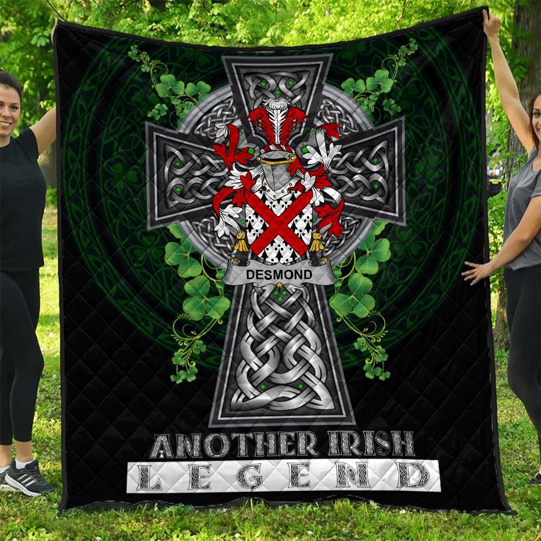 1sttheworld Premium Quilt - Desmond Irish Family Crest Quilt - Irish Legend A7