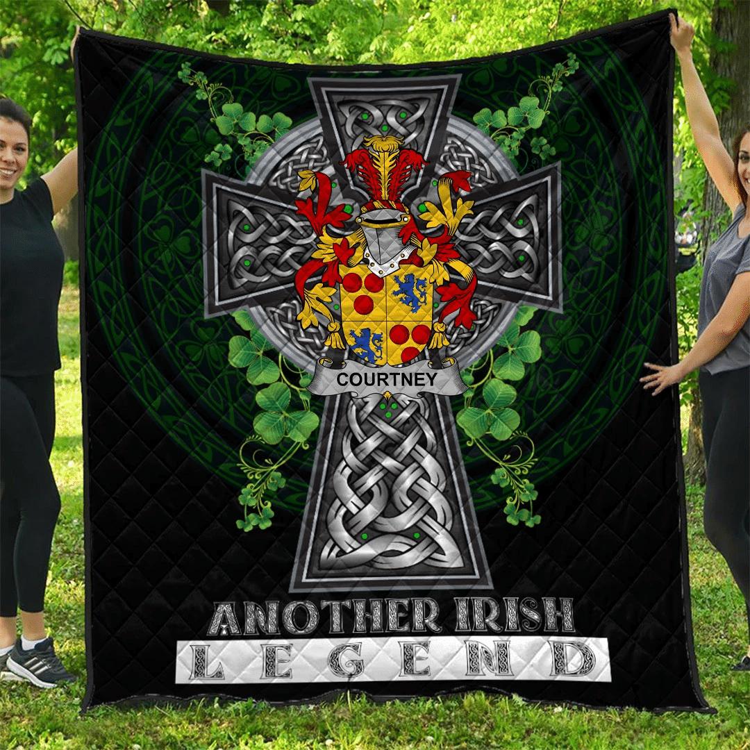 1sttheworld Premium Quilt - Courtney Irish Family Crest Quilt - Irish Legend A7