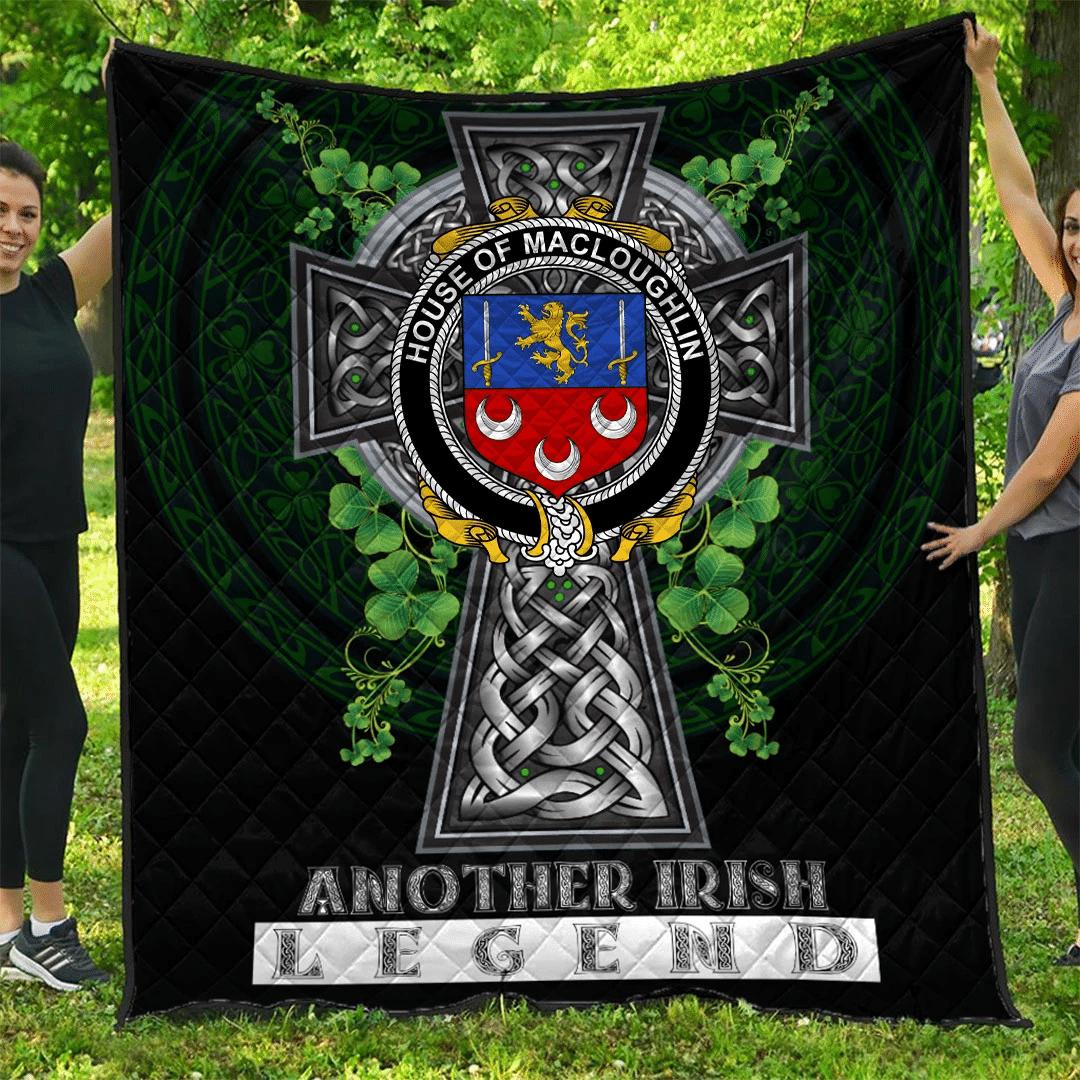 1sttheworld Premium Quilt - House of MACLOUGHLIN (Tirconnell) Irish Family Crest Quilt - Irish Legend A7