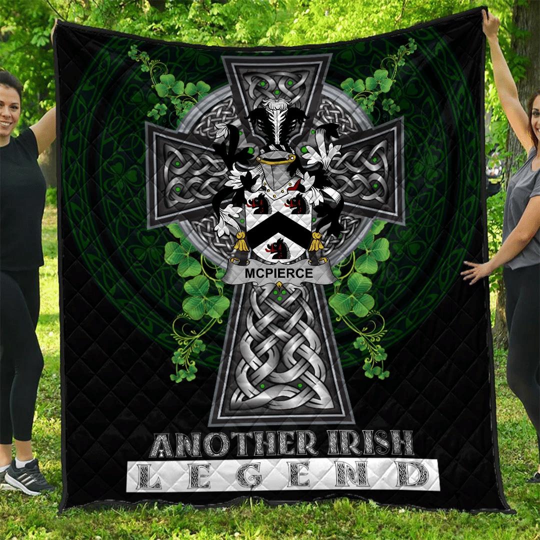1sttheworld Premium Quilt - McPierce or Pierce Irish Family Crest Quilt - Irish Legend A7