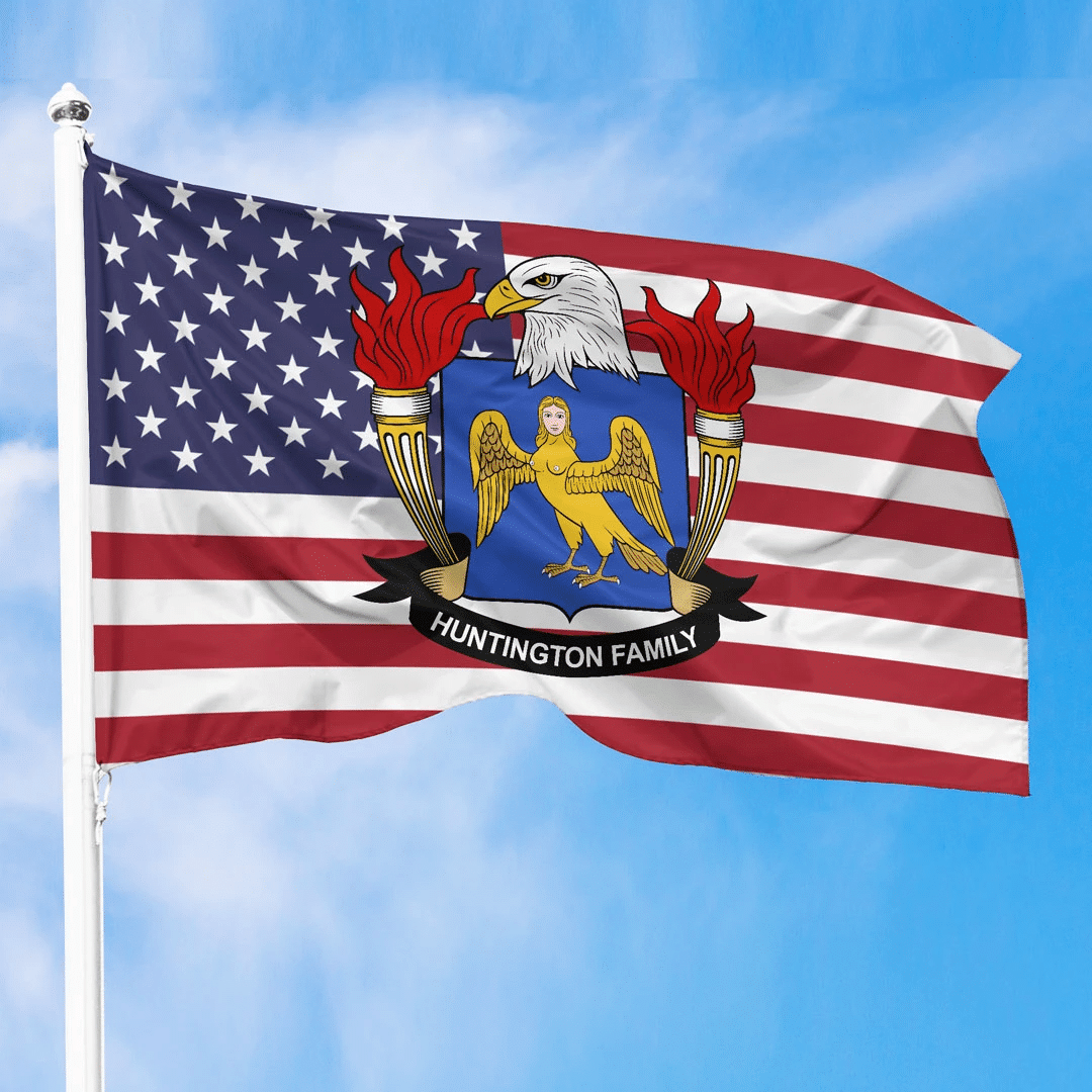 1sttheworld Premium Flag - Huntington American Family Crest Flag A7