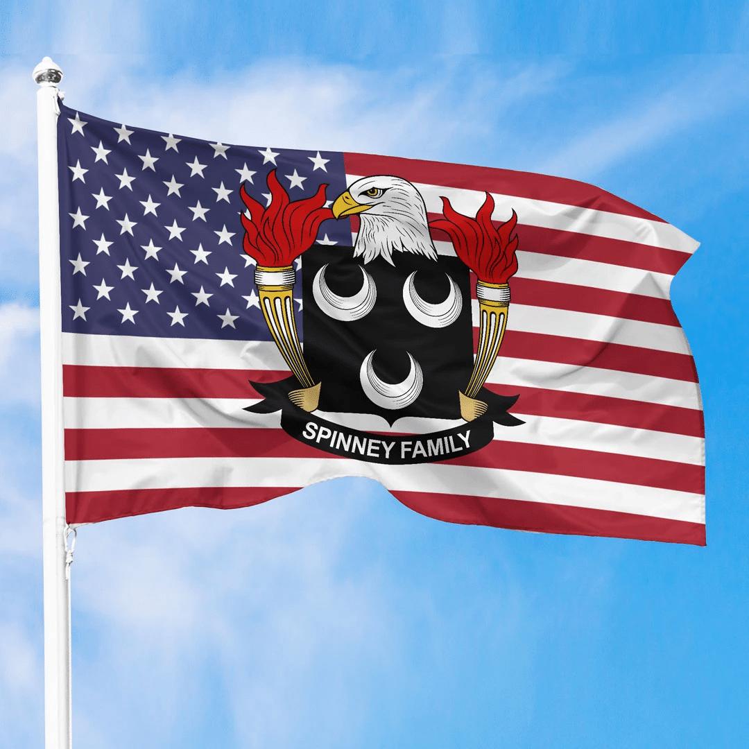1sttheworld Premium Flag - Spinney American Family Crest Flag A7
