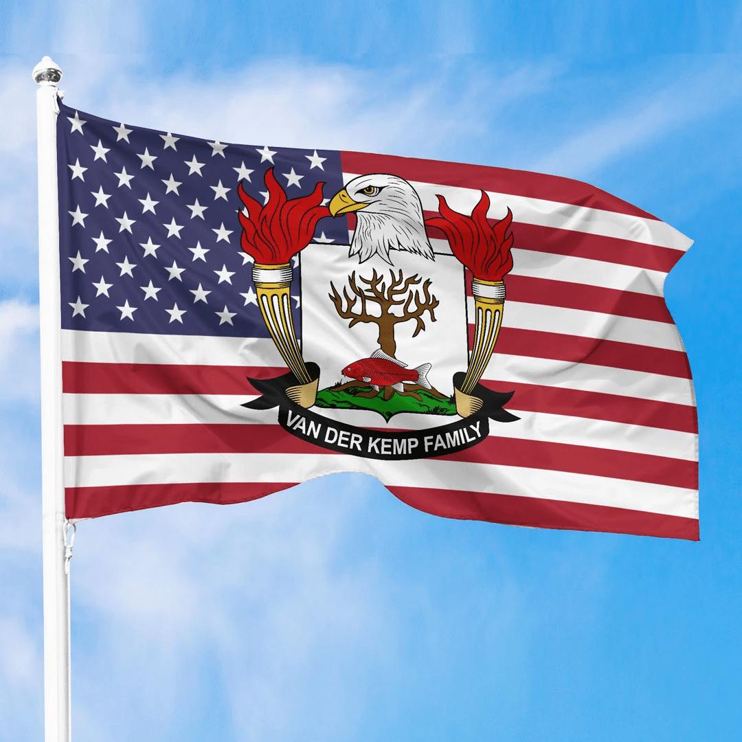 1sttheworld Premium Flag - Van-der-Kemp American Family Crest Flag A7
