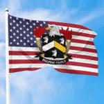 1sttheworld Premium Flag - Bourne American Family Crest Flag A7