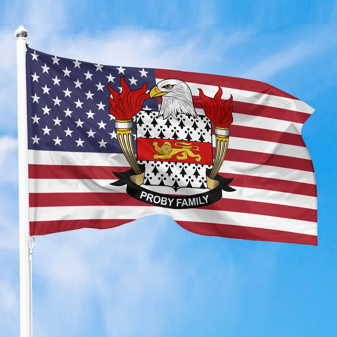 1sttheworld Premium Flag - Proby American Family Crest Flag A7