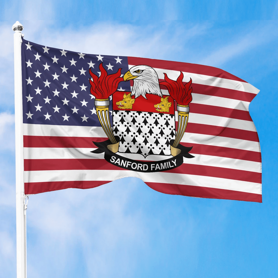 1sttheworld Premium Flag - Sanford American Family Crest Flag A7