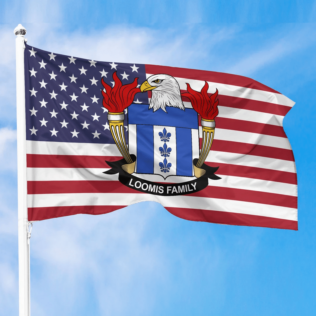 1sttheworld Premium Flag - Loomis American Family Crest Flag A7