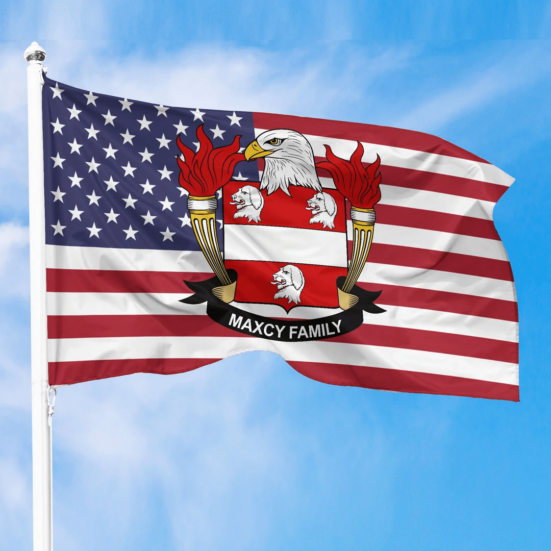 1sttheworld Premium Flag - Maxcy American Family Crest Flag A7