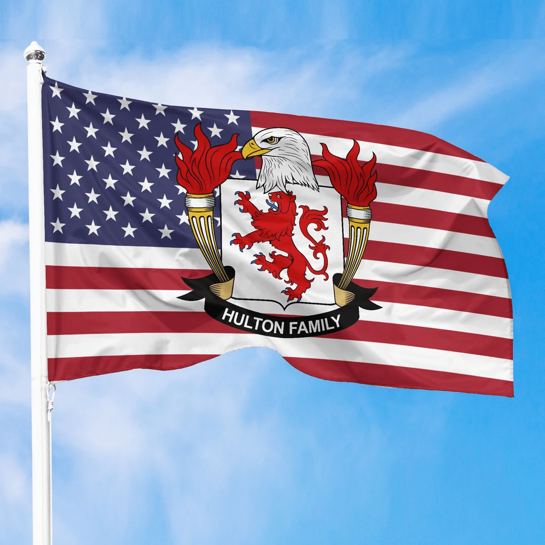 1sttheworld Premium Flag - Hulton American Family Crest Flag A7