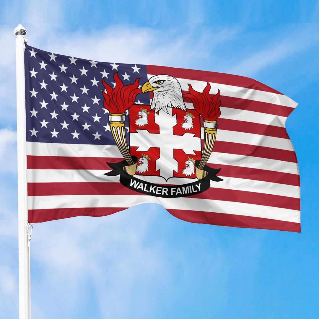1sttheworld Premium Flag - Walker American Family Crest Flag A7