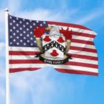 1sttheworld Premium Flag - Eyre American Family Crest Flag A7