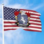 1sttheworld Premium Flag - Doane American Family Crest Flag A7