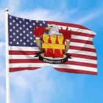 1sttheworld Premium Flag - Isham American Family Crest Flag A7