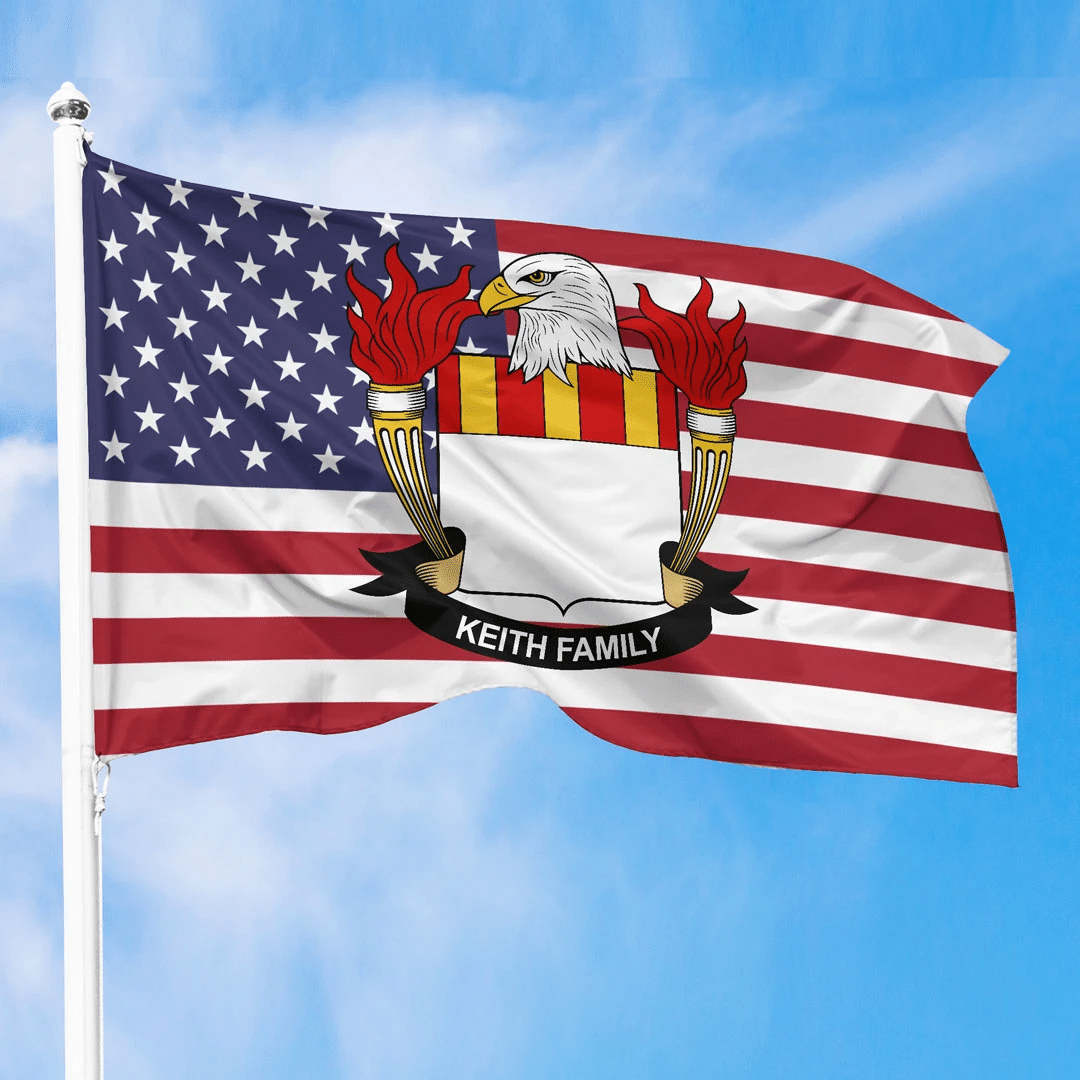 1sttheworld Premium Flag - Keith American Family Crest Flag A7