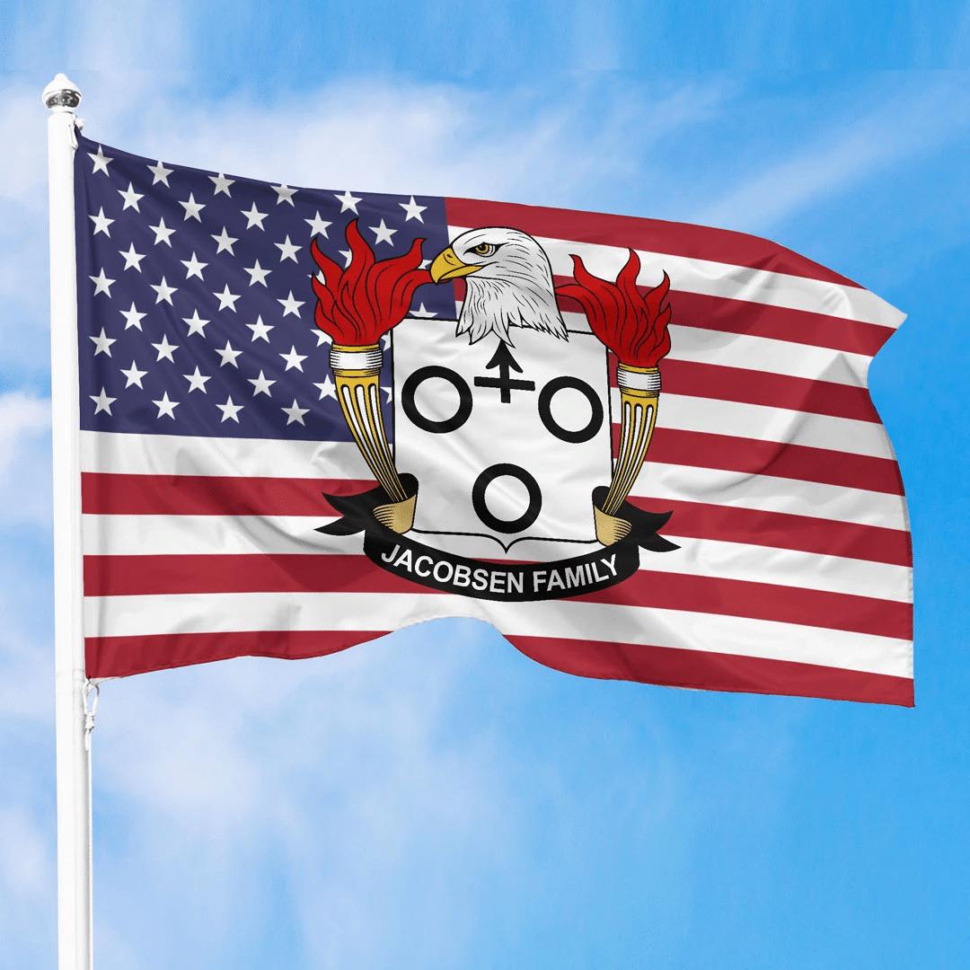 1sttheworld Premium Flag - Jacobsen American Family Crest Flag A7