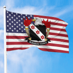 1sttheworld Premium Flag - Gleason American Family Crest Flag A7
