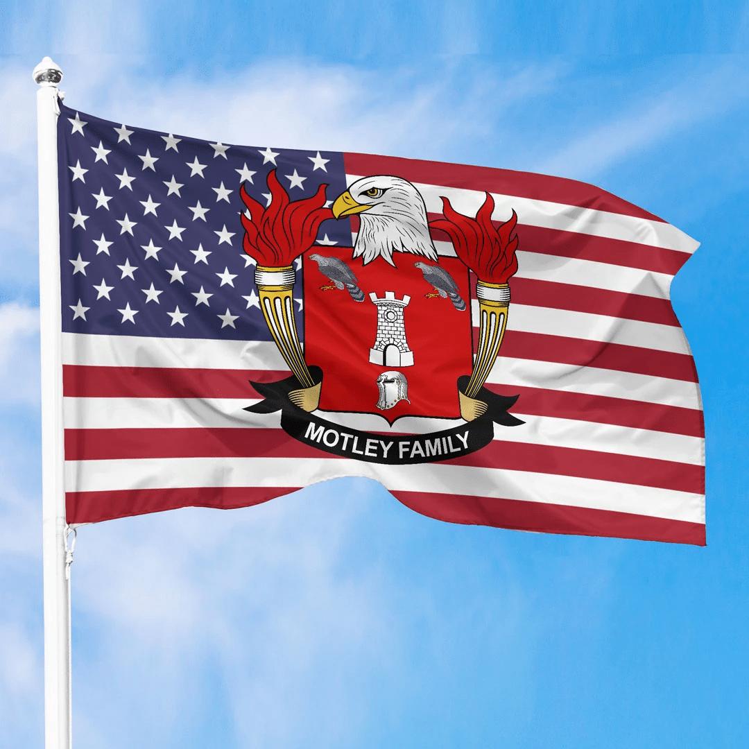 1sttheworld Premium Flag - Motley American Family Crest Flag A7