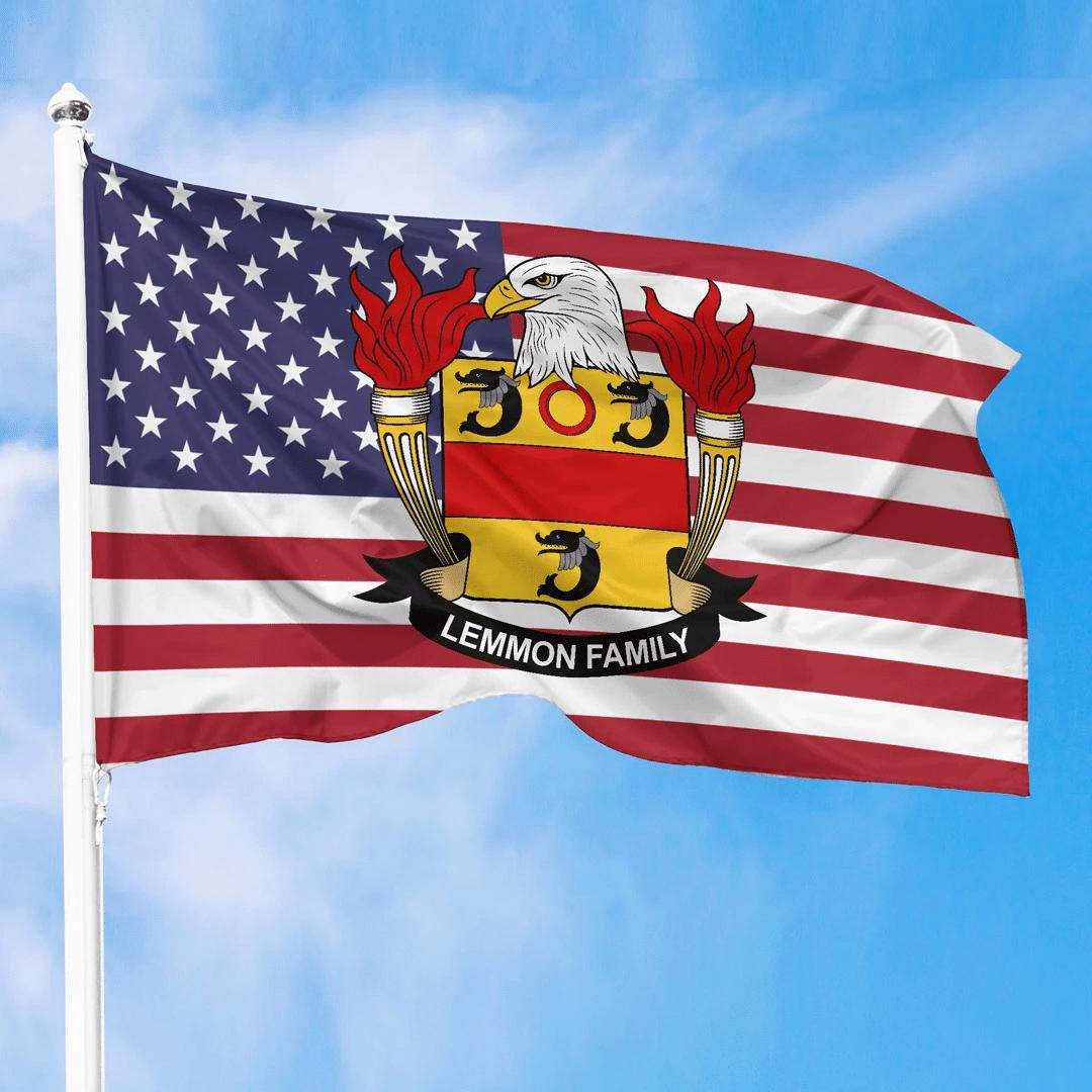 1sttheworld Premium Flag - Lemmon American Family Crest Flag A7