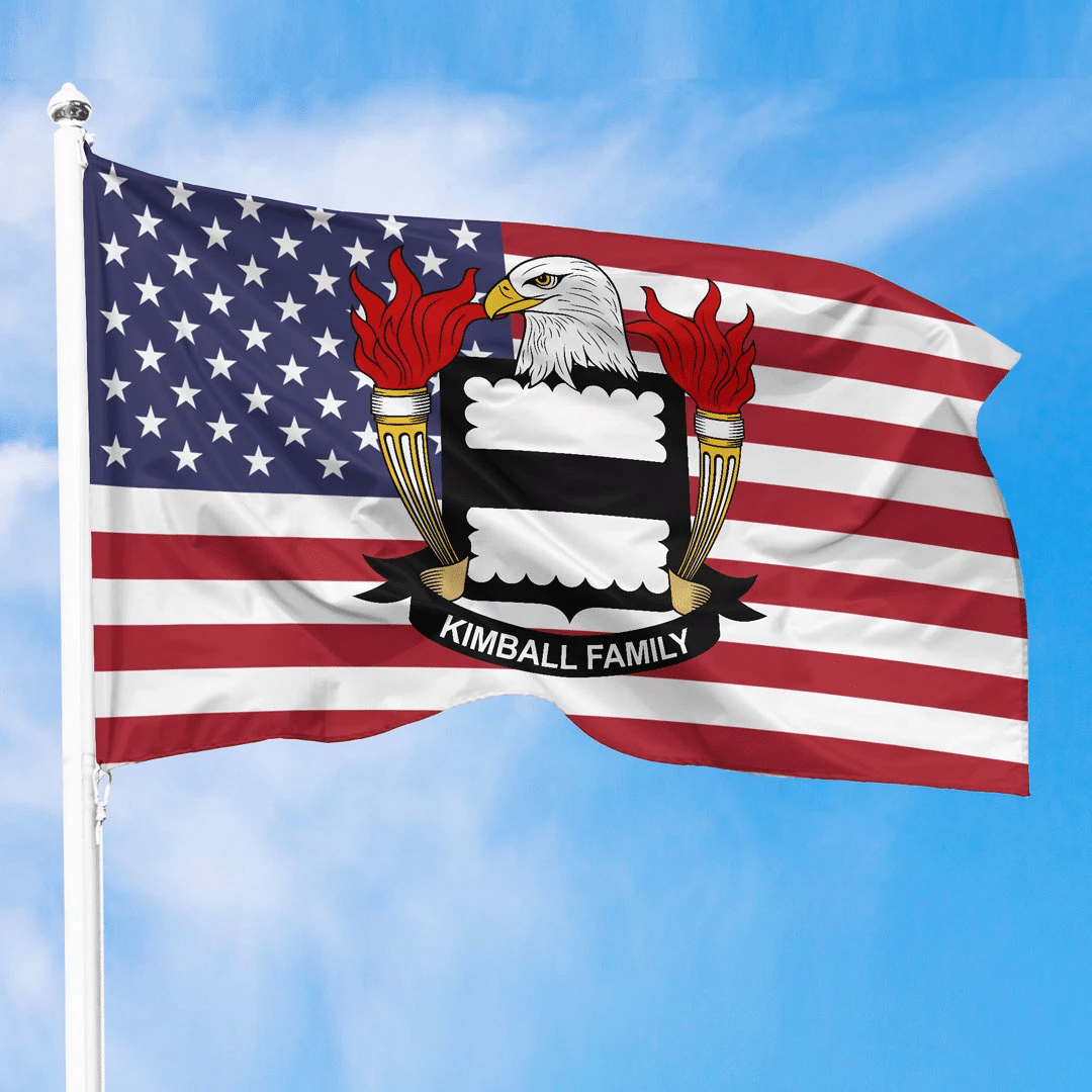 1sttheworld Premium Flag - Kimball American Family Crest Flag A7